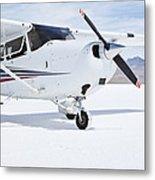 Cessna Aircraft On Bonneville Salt Flats Metal Print