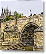 Charles Bridge And Prague Castle Metal Print