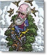 Charles Darwin In His Evolutionary Tree Metal Print