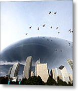 Chicago Cityscape The Bean Metal Print