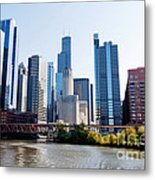 Chicago River Skyline With Sears-willis Tower Metal Print