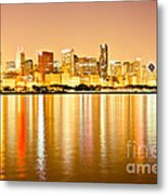 Chicago Skyline At Night Photo Metal Print