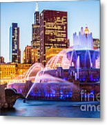 Chicago Skyline At Night With Buckingham Fountain Metal Print by Paul Velgos