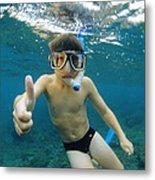 Child Snorkelling Metal Print by Alexis Rosenfeld