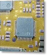 Circuit Board Microchip, Sem Metal Print