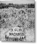 clan mackintosh memorial stone on Culloden moor battlefield site highlands scotland Metal Print