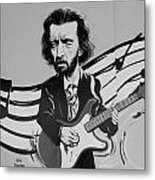 Clapton In Black And White Metal Print