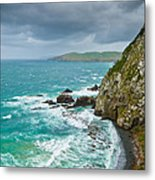 Cliffs Under Thunder Clouds And Turquoise Ocean Metal Print