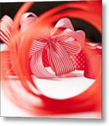 Close Up Of Decorative Red Ribbons Metal Print