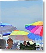 Coast Guard Beach Umbrellas Metal Print