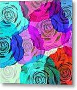Colorful Roses Design Metal Print