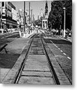 Completed Tram Rails On Princes Street Edinburgh Scotland Uk United Kingdom Metal Print