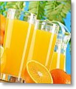 Composition With Two Glasses Of Orange Juice And Fruits Metal Print by T Monticello