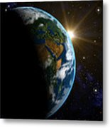 Computer Artwork Of Sunrise Over The Earth Metal Print