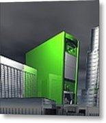 Computer City, Conceptual Artwork Metal Print