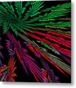 Computer Generated Red Green Abstract Fractal Flame Modern Art Metal Print