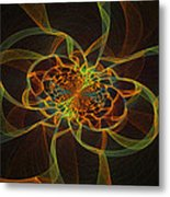 Computer Generated Yellow Vortex Abstract Fractal Flame Art Metal Print