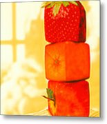 Conceptual Image Of Genetically-engineered Fruit Metal Print