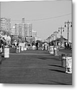 Coney Island Boardwalk In Black And White Metal Print