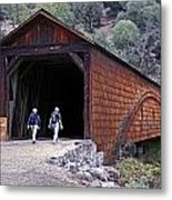 Covered Bridge Walkers Metal Print