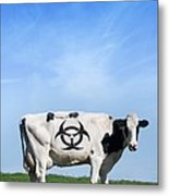 Cow And Biohazard Sign, Artwork Metal Print