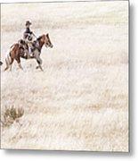 Cowboy And Dog Metal Print by Cindy Singleton