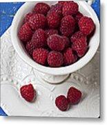 Cup Full Of Raspberries Metal Print