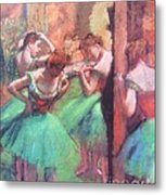 Dancers - Pink And Green Metal Print