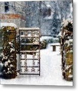 Decorative Iron Gate In Winter Metal Print