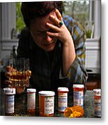 Depression And Addiction Metal Print by Photo Researchers, Inc.