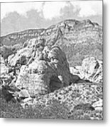 Desert Hikers Metal Print
