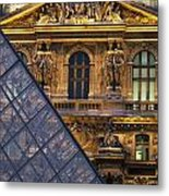 Detail Of The Glass Pyramid Outside The Metal Print by Axiom Photographic