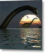 Diplodocus Dinosaurs Bathe In A Large Metal Print