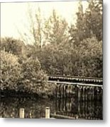 Dock On The River In Sepia Metal Print
