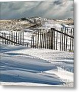 Drifting Snow Along The Beach Fences At Nauset Beach In Orleans  Metal Print