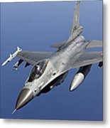 Dutch F-16am During A Combat Air Patrol Metal Print