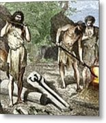 Early Humans Smelting Bronze Metal Print