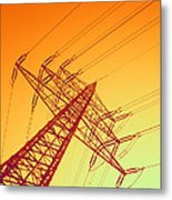 Electricity Power Lines Metal Print