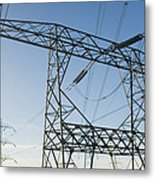 Electricity Pylons Against A Clear Blue Metal Print