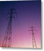 Electricity Transmission Lines At Sunset Metal Print