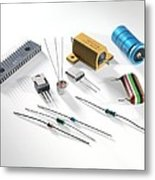 Electronic Components Metal Print by Tek Image