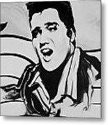 Elvis In Black And White Metal Print