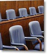 Empty Jury Seats In Courtroom Metal Print