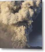 Eruption Of Ash Cloud From Mount Bromo Metal Print