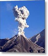 Eruption Of Ash Cloud From Santiaguito Metal Print