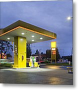Estonian Gas Station At Night Metal Print