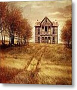 Farm House On Hill With Autumn Scenery Metal Print