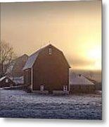 Farm Winter Sunrise Metal Print