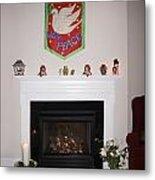 Fireplace At Christmas Metal Print