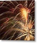 Fireworks In Night Sky Metal Print by Garry Gay